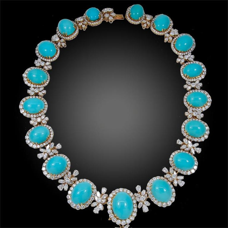 Chaumet Paris Diamond, Cabochon Turquoise Necklace, Ear Clips and Ring In Good Condition For Sale In New York, NY