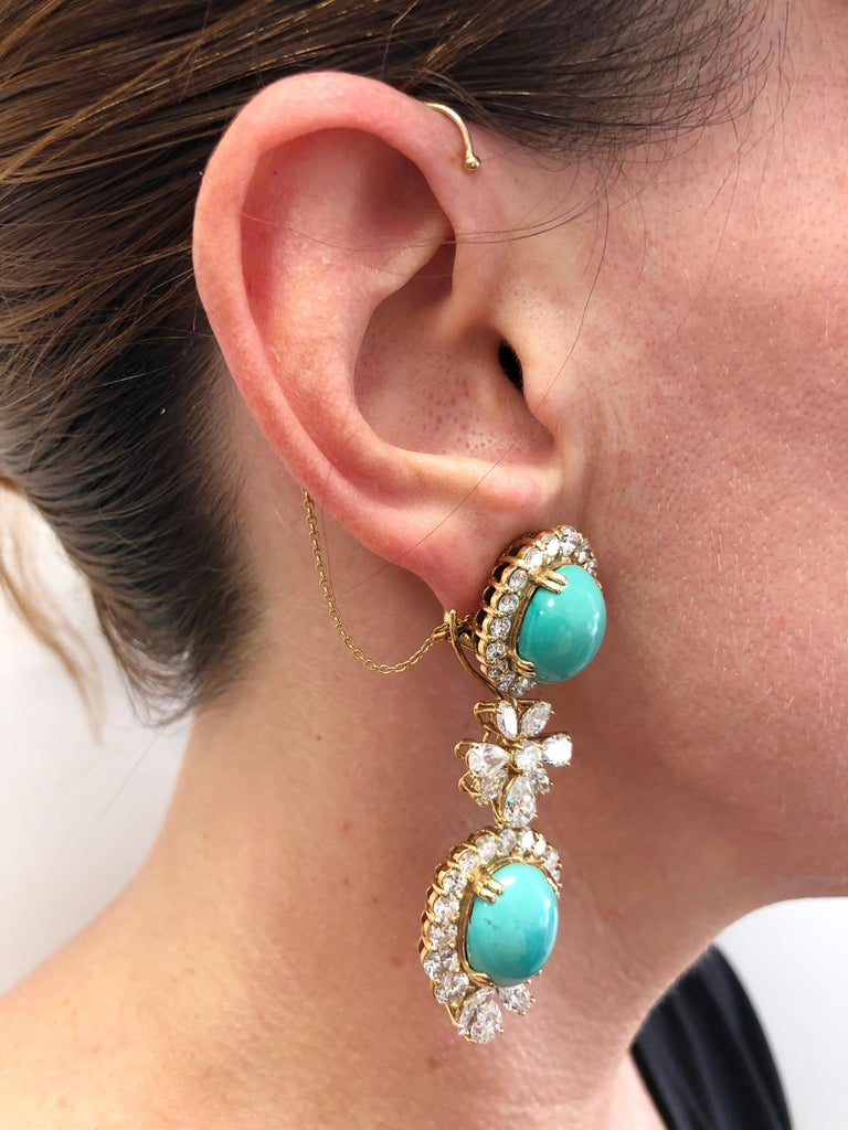 Chaumet Paris Diamond, Cabochon Turquoise Necklace, Ear Clips and Ring For Sale 2