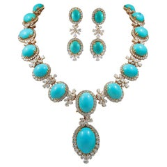 Chaumet Paris Diamond, Cabochon Turquoise Necklace, Ear Clips and Ring