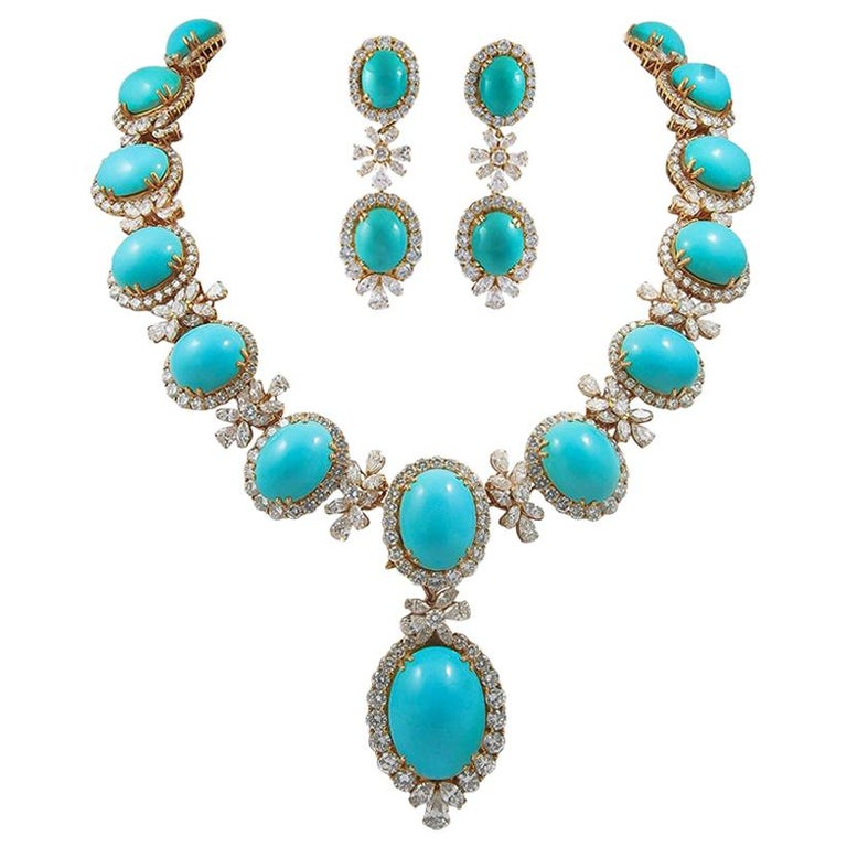 Chaumet Paris Diamond, Cabochon Turquoise Necklace, Ear Clips and Ring For Sale