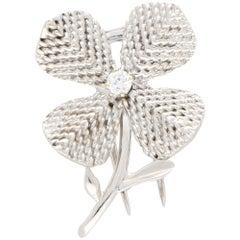 Chaumet Paris Diamond Flower Brooch Set in 18 Karat White Gold