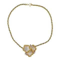 Chaumet Paris Diamond Mother of Pearl Gold Necklace