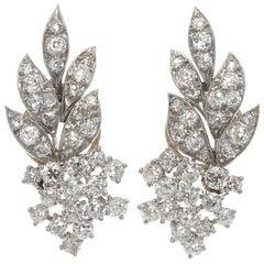 Chaumet Paris Diamond Platinum Leaf Earrings