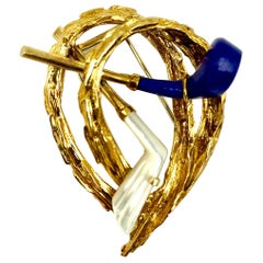 Chaumet, Paris, For The Love of Golf, Vintage Clip Brooch 18K Gold, Lapis Lazuli