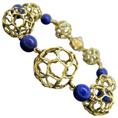 Chaumet Paris Lapis Lazuli Beads Textured Yellow Gold Bangle Bracelet