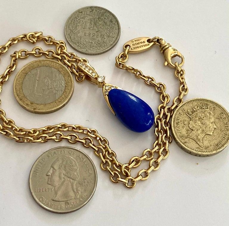 Chaumet Paris, Necklace with Pendant, Lapis Lazuli and 9 Diamonds For Sale 4
