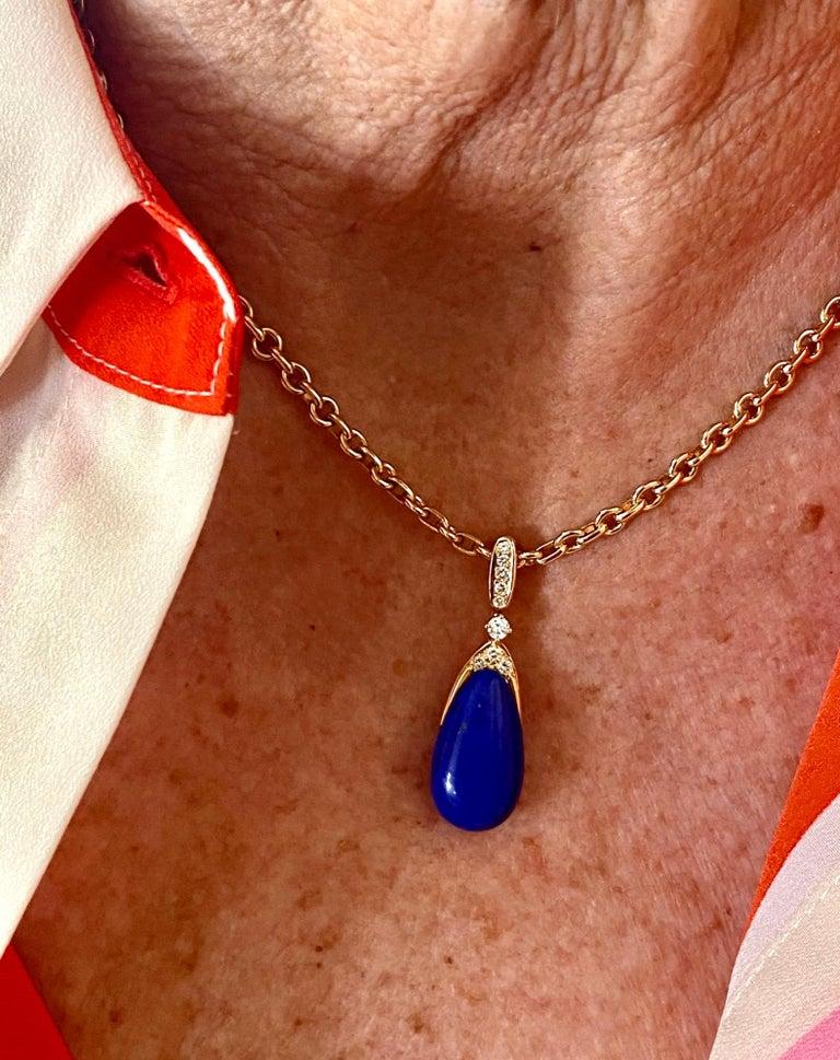 Chaumet Paris, Necklace with Pendant, Lapis Lazuli and 9 Diamonds For Sale 6