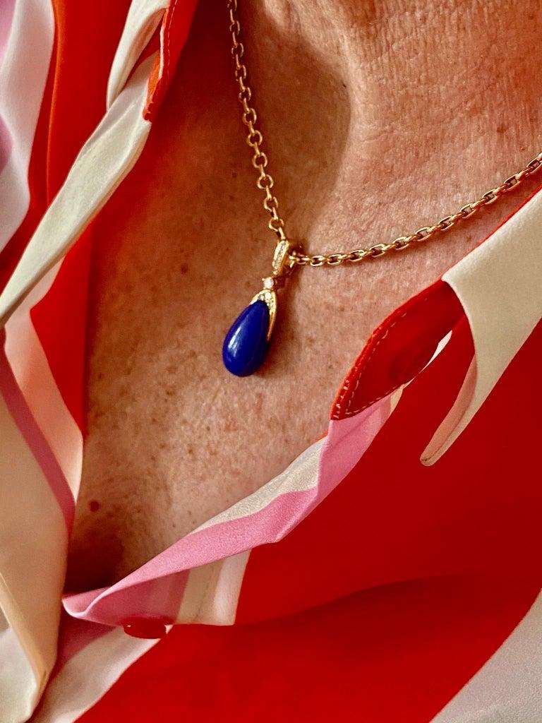Chaumet Paris, Necklace with Pendant, Lapis Lazuli and 9 Diamonds For Sale 7