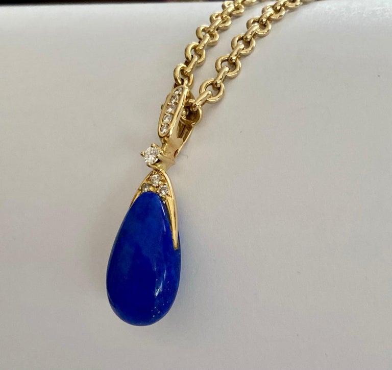 Modernist Chaumet Paris, Necklace with Pendant, Lapis Lazuli and 9 Diamonds For Sale