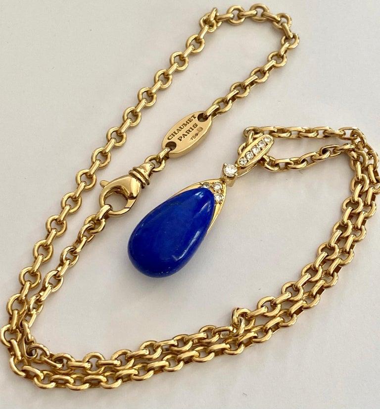 Brilliant Cut Chaumet Paris, Necklace with Pendant, Lapis Lazuli and 9 Diamonds For Sale