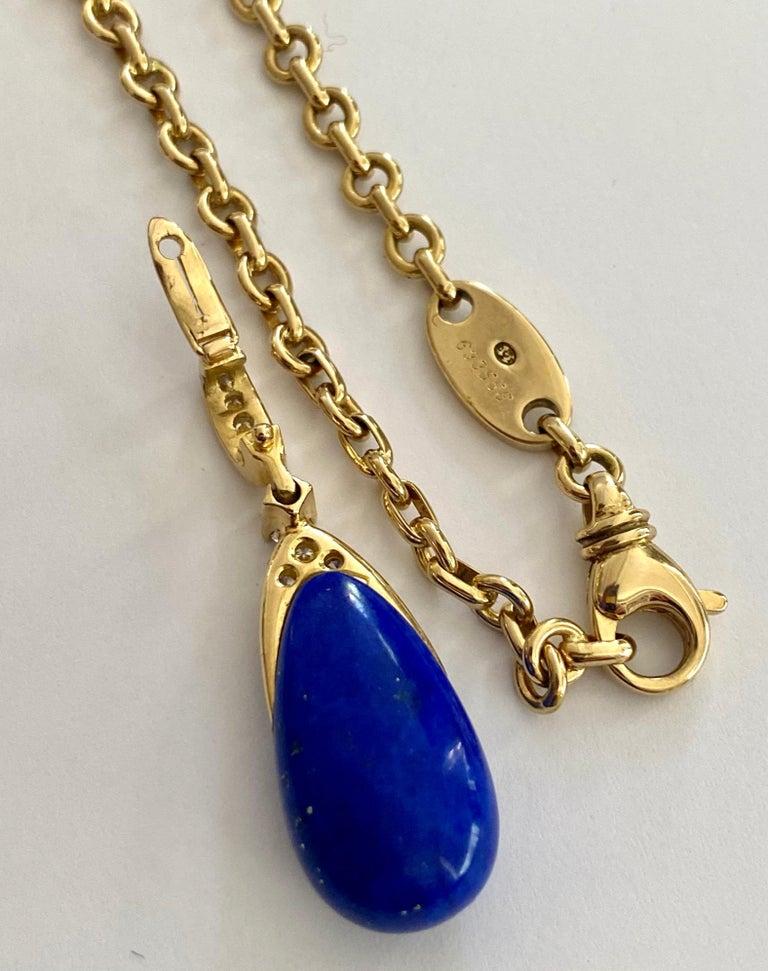 Women's or Men's Chaumet Paris, Necklace with Pendant, Lapis Lazuli and 9 Diamonds For Sale