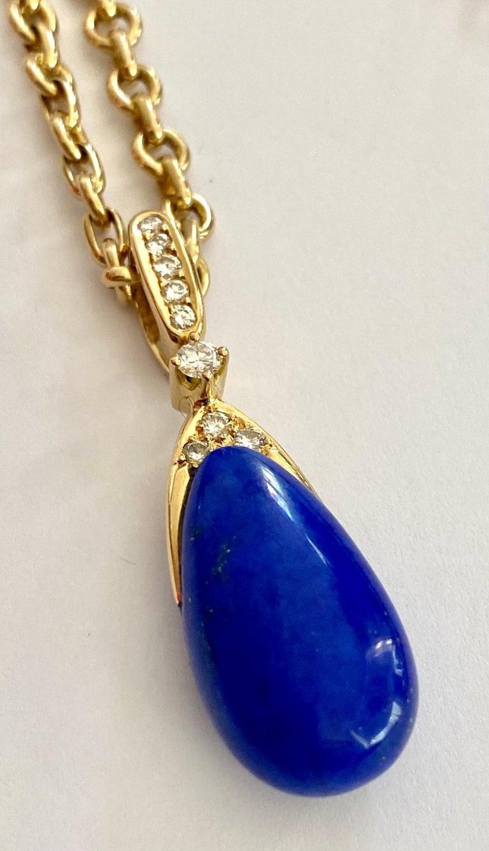 Chaumet Paris, Necklace with Pendant, Lapis Lazuli and 9 Diamonds For Sale 2