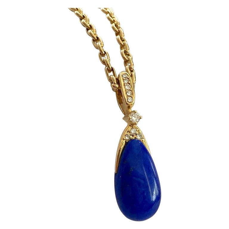 Chaumet Paris, Necklace with Pendant, Lapis Lazuli and 9 Diamonds For Sale