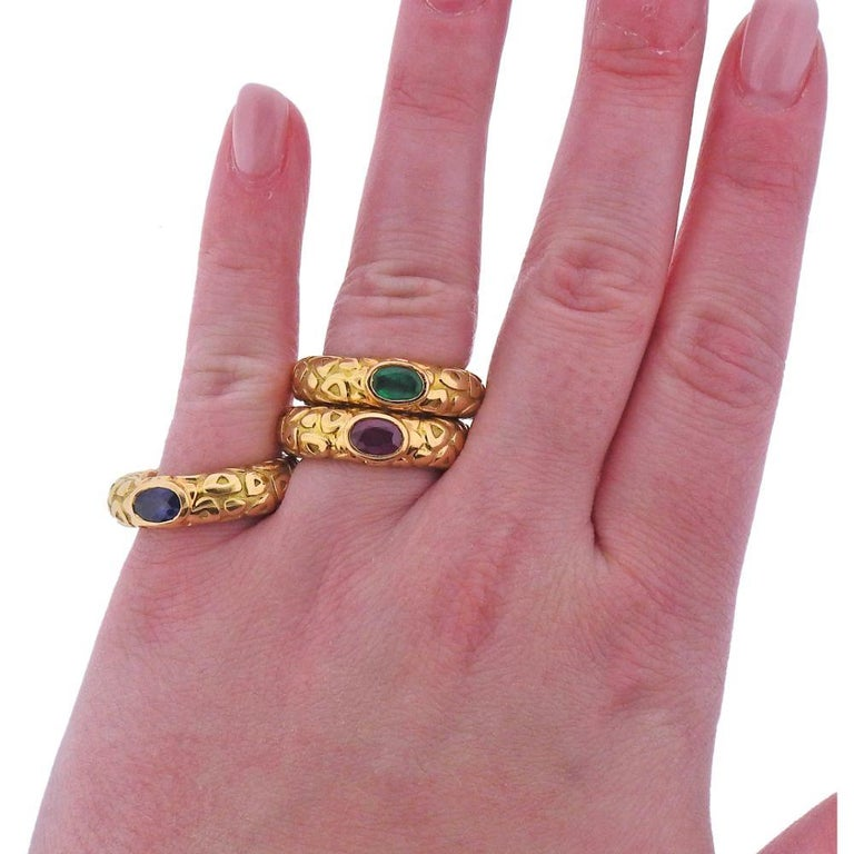 Women's Chaumet Paris Ruby Emerald Sapphire Gold Stackable Band Ring For Sale