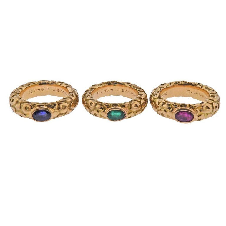 Chaumet Paris Ruby Emerald Sapphire Gold Stackable Band Ring For Sale 1