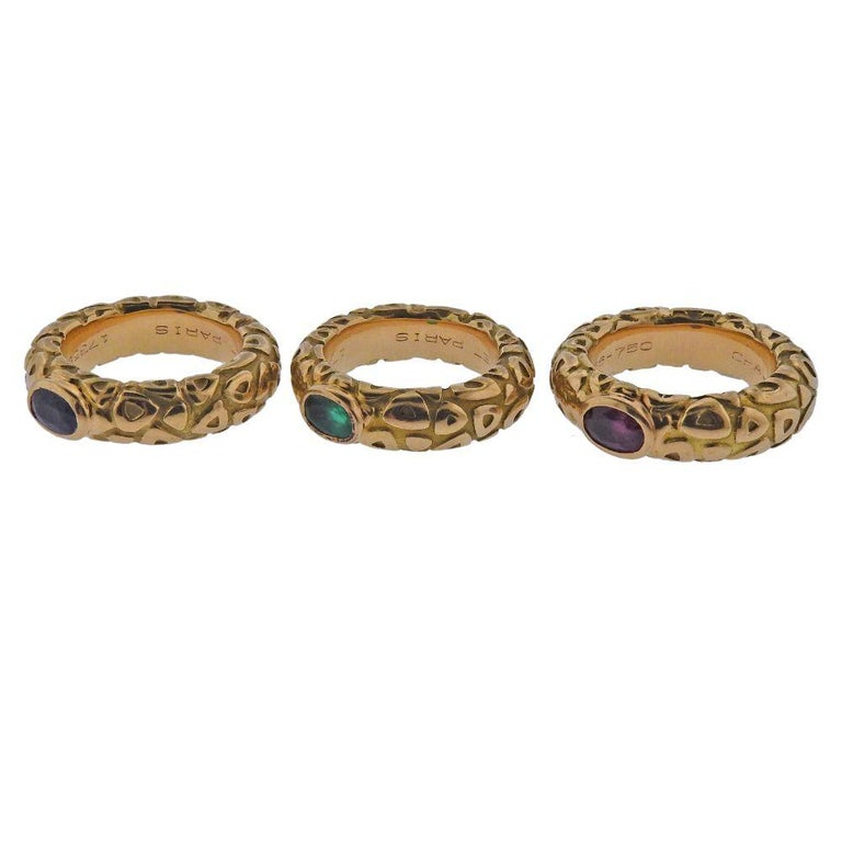 Chaumet Paris Ruby Emerald Sapphire Gold Stackable Band Ring For Sale 2
