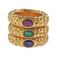 Chaumet Paris Ruby Emerald Sapphire Gold Stackable Band Ring