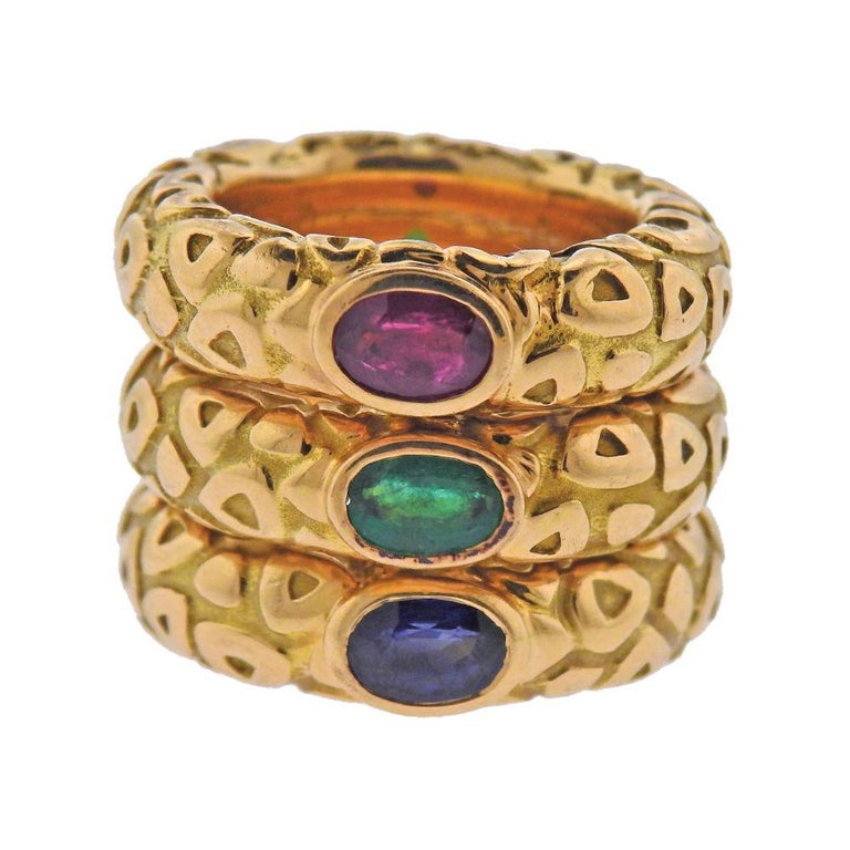 Chaumet Paris Ruby Emerald Sapphire Gold Stackable Band Ring For Sale