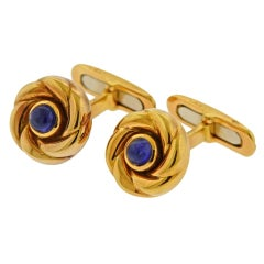 Chaumet Paris Sapphire Gold Cufflinks