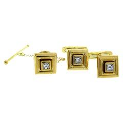 Chaumet Paris Yellow Gold Cufflinks and Stud Set with Diamond