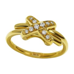 Chaumet Premiers Liens Cross Ring 18 Karat Yellow Gold