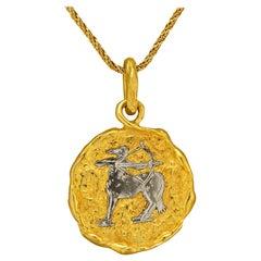 Chaumet Sagittarius Zodiac Vintage Gold Pendant Necklace