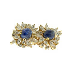 Chaumet Sapphire Diamond 18 Karat Gold Clip Earrings