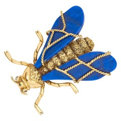 Chaumet Vintage Lapis Lazuli Diamond Queen Bee Fly Brooch 18K Yellow Gold 1970s