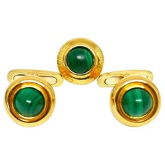 Chaumet Vintage Yellow Gold Malachite Cufflinks Tie Tack Set
