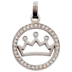 Chaumet White Diamond Round Pendant Crown in 18 Karat White Gold