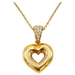 Chaumet Yellow Gold Diamond Heart Chain Necklace