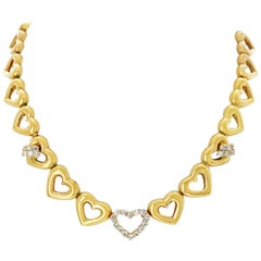 Chaumet Yellow Gold Heart Station and Diamond Necklace