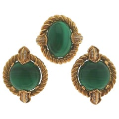 Chaumet Yellow Gold Malachite and Diamond Earrings and Brooch