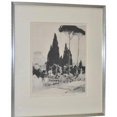"""Chauncey F. Ryder """"Villa d'Este"""" Drypoint Etching 1920s"""