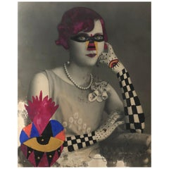 Checker Arm Lady, Mixed-media Vintage photo drawn on with pen and acrylic paint