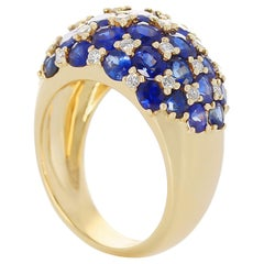 Checker-Board Sapphire and Diamond Ring, 18 Karat Yellow Gold