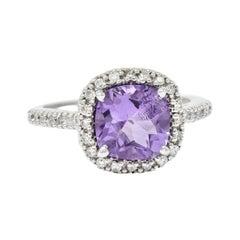 Checkerboard Amethyst Diamond Halo 18 Karat White Gold Gemstone Ring