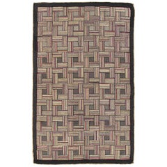 Checkerboard Antique American Hooked Rug with Geometric Designs