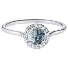 Checkerboard Aquamarine Halo Ring in 18 Karat White Gold