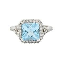 Checkerboard Blue Topaz Diamond 18 Karat White Gold Square Halo Ring