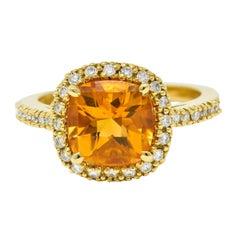 Checkerboard Citrine Diamond Halo 18 Karat Yellow Gold Gemstone Ring