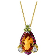 Checkerboard Citrine Ruby Diamond Pendent or Necklace 14 Karat Gold With Chain