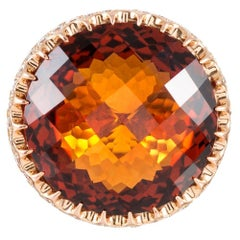 Checkerboard Citrine, Diamond and Colored Sapphire Ring