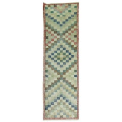 Checkerboard Motif Small Turkish Art Deco Runner