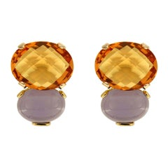 Checkerboard Oval Citrine Cabochon Oval Chalcedony Gold Earrings