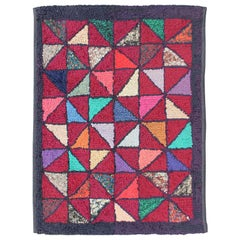Checkerboard Vintage American Hooked Rug with Geometric Designs