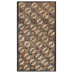 Checkered and Leaf Design American Hooked Rug in Earth Tones
