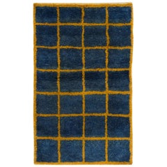 Checkered Blue and Yellow Tulu Rug - Custom Options Available