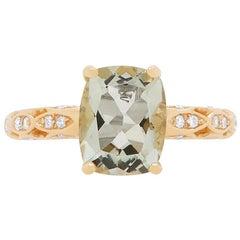 Checkered Cut Green Amethyst 14 Karat Yellow Gold Diamond Art Deco Style Ring