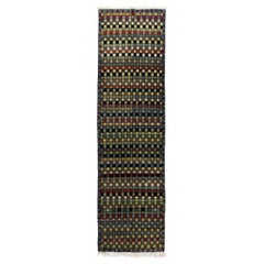 3.7x12.5 Ft Checkered Mid-Century Modern Turkish Wool Runner Rug, Natural Dyes